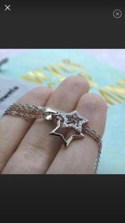 Sterling silver double star necklace (PRICE FIRM)