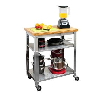NEW-Stainless Steel Kitchen Work Table Cart with Bamboo Top