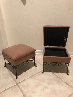 Small Brown suede footstool