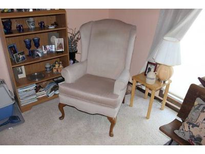 WINGBACK CHAIRS, (2) QUEEN ANNE WINGBACK CHAIRS, ...