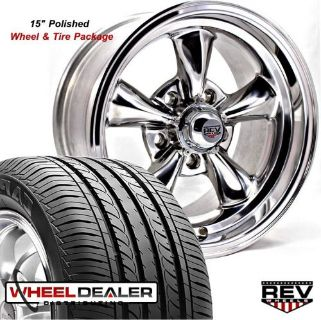 """Sell 15x6"""" 15x7"""" POLISHED REV CLASSIC 100 WHEELS & TIRES FOR CHEVY II NOVA 1965 motorcycle in Spring, Texas, United States, for US $1,039.00"""