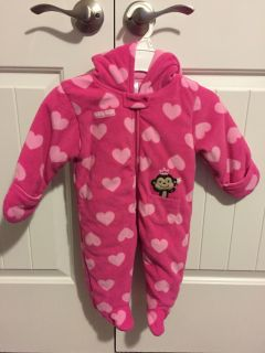 Pink hooded bunting suit