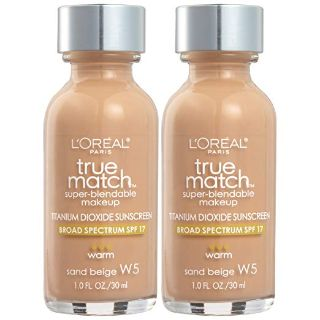 L'Oreal Paris Cosmetics True Match Super-Blendable Foundation Makeup, Sand Beige W5, 2 Count