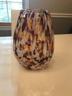 Amber Vase with White, Burgundy, and Dark Brown Spots