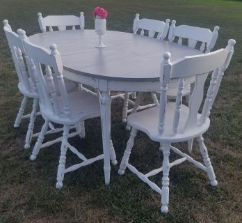 COUNTRY GRAY & WHITE FARMSTYLE TABLE (Chairs sold separately)
