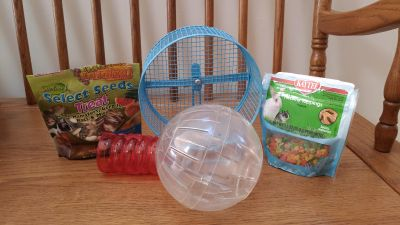 Miscellaneous hamster, gerbil treats and accessories.