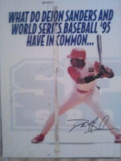 Deion Sanders laminated Sega baseball display
