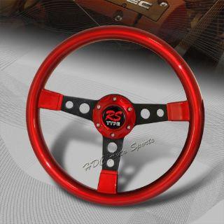 Buy JDM 350MM 6 Hole Bolt Red Finish Wood Spoke Racing Steering Wheel Universal 1 motorcycle in Walnut, California, United States