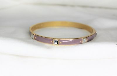Gold Tone lia sophia Purple Lavender Enamel Bangle Boho Bead Bracelet Statement