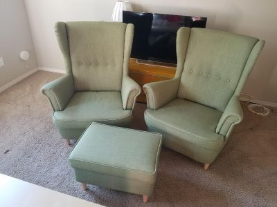 2 chairs and footstool Ikea