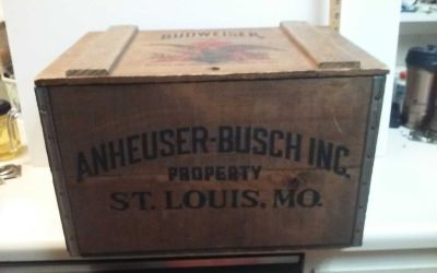 Vintage Centenial Budweiser crate with hinged lid