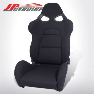 Purchase JDM CUGA STYLE FULL RECLINABLE BUCKET RACING SEATS WHOLE BLACK CLOTH motorcycle in Rowland Heights, California, United States, for US $220.98
