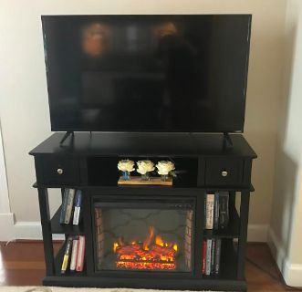 Black Media/TV Table With Electric Fireplace
