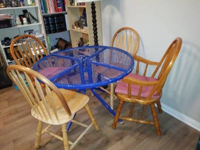 Blue table and four chairs