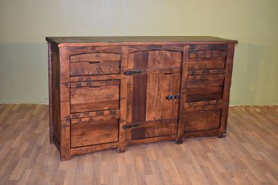 Rustic Style Solid Wood 6-drawers 1-door dress...