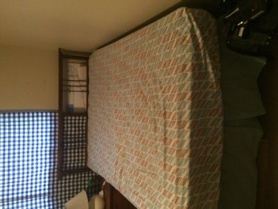 Full Size Bed with box spring, mattress, and frame