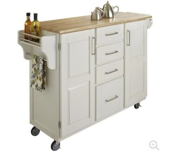 White Kitchen Island/Cart & Microwave For Sale!!
