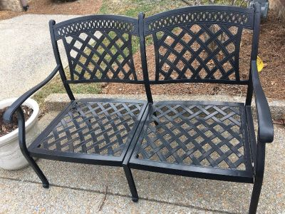 Iron bench and cushions. Excellent condition $100