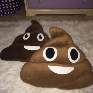 Two poop pillows