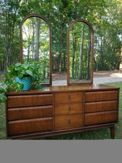Vintage MCM Triple Dresser with Mirrors