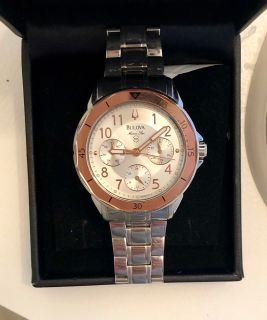 Bulova rose gold and silver watch