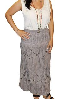 Boho Gypsy Embroidered Rayon Long Skirts M/L