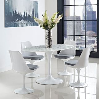 "60"" Oval Cultured Marble Dining Table White Base"