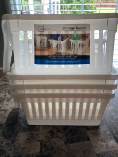 Storage Baskets - NWT- 4 for 1 Price- 13.5 W x 5.7 H x 7.75 Depth - Large with Handles