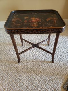 Hand Painted Black Floral Table