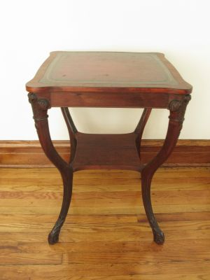 Two-Tier Leather Top Mahogany Parlor Table