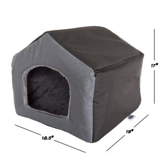 Small Gray Polyester Cozy Cottage House Shaped Pet Bed