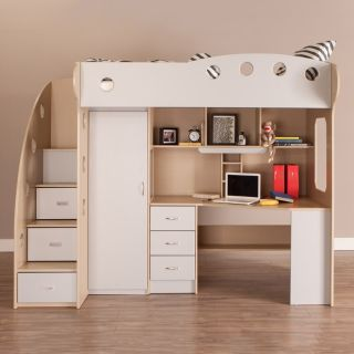 Jysk loft bed with closet and desk