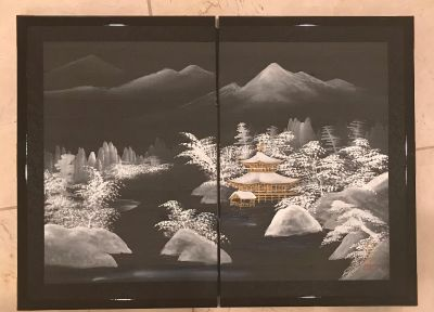 Framed Hand Painted Japanese Silk Screen Painting