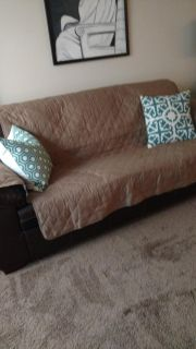 Queen faux leather sofa bed