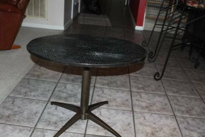 Lazy Susan (Swivel) Cultured Marble Top Steel Bottom Side Table