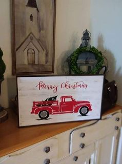 "VIntage Truck ""Merry Christmas"" sign"