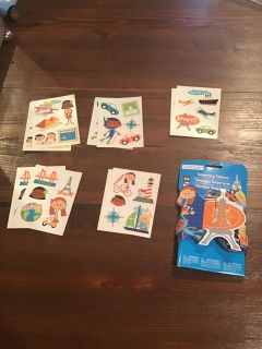 Brand new 50 temporary tattoos travel themed - NIP but package shows wear - code cg