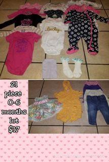 21 piece girl 0-6 months clothing lot