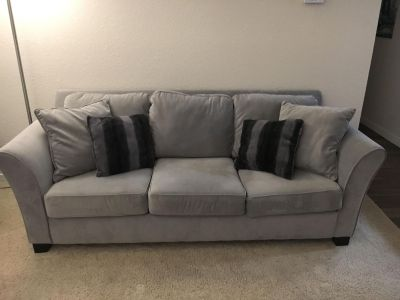 Suede couch with pull out bed