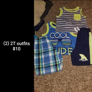 (2) 2T tank top/shorts outfits