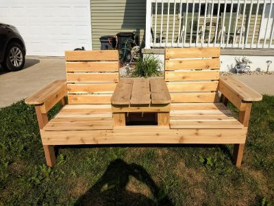Double patio bench with table