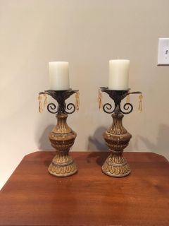Set of Two Decorative Candle Holders with Candles