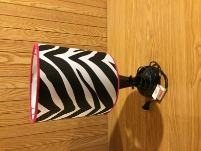 Lamp - pink and zebra stripped