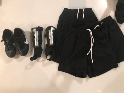 Kids Nike Soccer Cleats, Black Soccer Shorts, Shin Guards...Excellent Condition! Like New