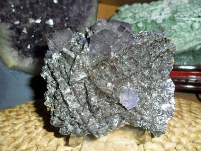 Exceptional Rare Fluorite Crystal and Specularite