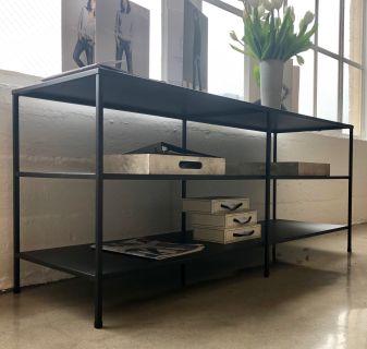 Two shelf metal console