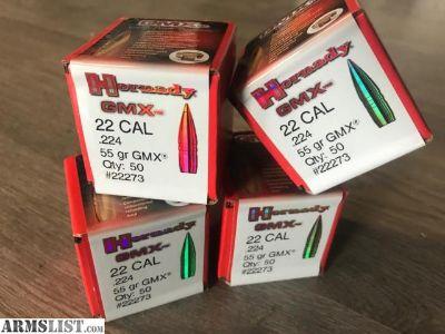 For Sale: Hornady GMX 22 CAL 55gr