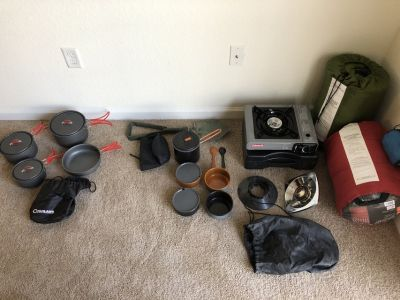 Camping Gear (Sleeping Bags, Camp Stoves, Cookware)