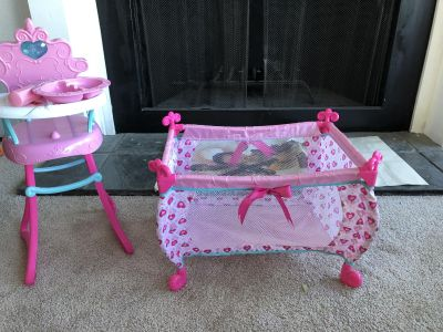 Baby doll high chair and crib play set