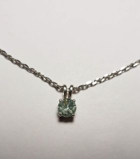 Natural Round Green Montana Sapphire necklace, 0.68cts